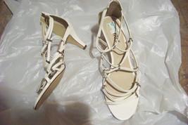 womens ashro white multi strap heels shoes size 11 - $20.78