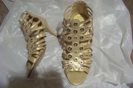 womens ashro metallic multi strap heels shoes size 9 - $21.77