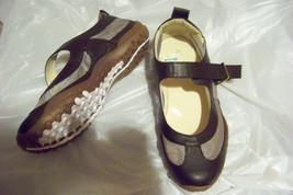 womens ashro brown mesh mary jane flats shoes size 7 - $19.79