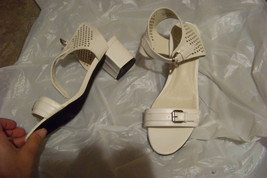 womens ashro white cut out ankle strap heels shoes size 8 1/2 ~ run large - $20.78