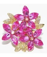 Pink Crystals Floral Fantasy Dinner Party Ring  w/Gift Box - $24.99