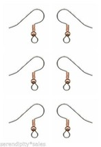 144 Stainless Steel Ear Wire ~ Copper Plated Bead/Ball + Coil~ French Hooks - $9.56