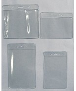 2 Two Clear Plastic Badge ID Holders with Slot ... - $3.20