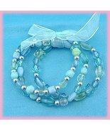 KIDS CHILDS BLUE BEADS 3 STRAND BRACELET ORGANZA RIBBON - $14.99