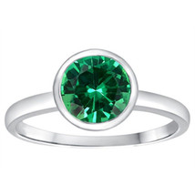 1.56CT WOMENS UNIQUE 14K WG SOLITAIRE SETTING EMERALD ENGAGEMENT RING SI... - £213.43 GBP