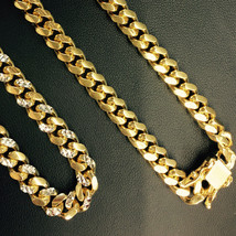 10.5mm Mens 14K YG 925 Sterling Silver Miami Cuban Solid Chain 32 Inches - $610.30