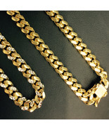 10.5mm Mens 14K YG 925 Sterling Silver Miami Cuban Solid Chain 32 Inches - £461.49 GBP