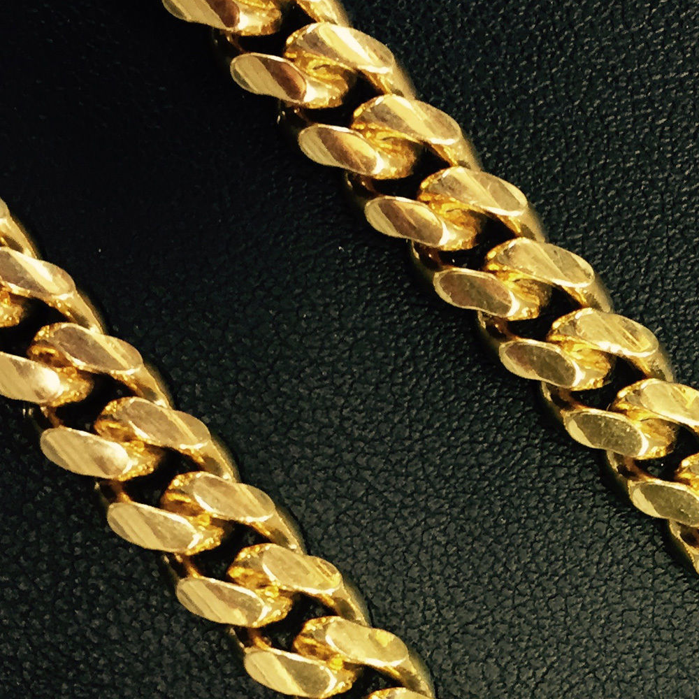 10.5mm Mens 14K YG 925 Sterling Silver Miami Cuban Solid Chain 32 Inches