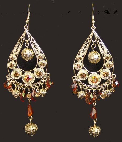Primary image for Exotic Chandelier Dangle Earrings Dancer Gold Tone Faux Topaz Crystals