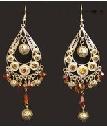 Exotic Chandelier Dangle Earrings Dancer Gold Tone Faux Topaz Crystals - £7.64 GBP