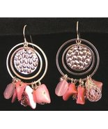 Exotic Dangle Hoop Earrings Pink & Mesh Beads & Stones - £11.46 GBP