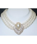 Wedding White Faux Pearl & Crystals Pendant Necklace & Earring Set 3 Str... - $29.99
