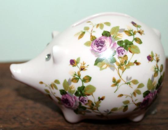 Vintage Shabby Chic Pink Floral Design Pig Bank