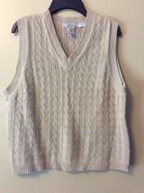 Eddie Bauer AKA Women's M Beige Cable Knit Sleeveless Sweater Vest V-neck - $16.44
