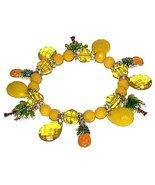 Tropical Yellow Pineapples & Palm Trees Charm Bracelet - $12.99
