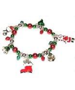 Christmas Charm Bracelet Santa, Snowman, Bells ... - $7.99