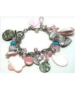 Vintage Look Charm Bracelet MOP Shells, Hearts, More! - $14.99