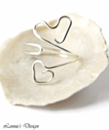 Silver Two Hearts Wire Ring - $19.90