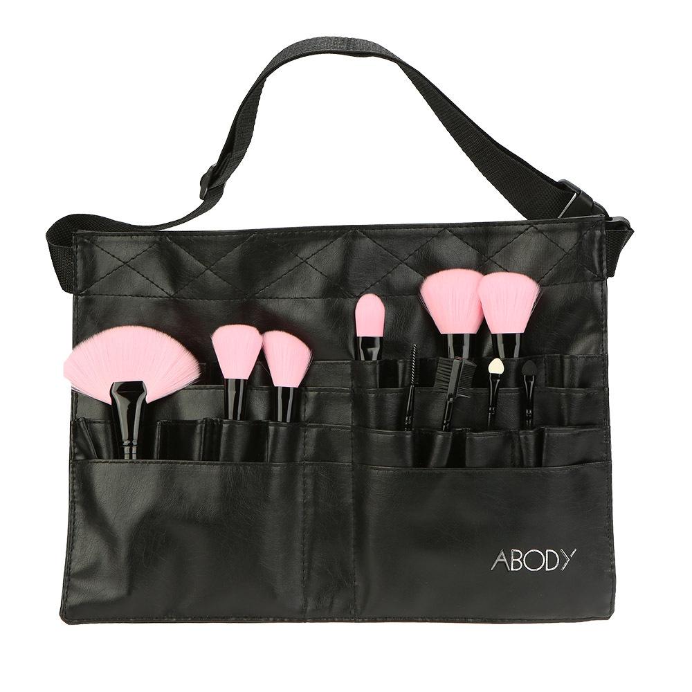 Black Two Arrays Makeup Brush Holder Professional Bag Artist Belt Strap Protable image 2