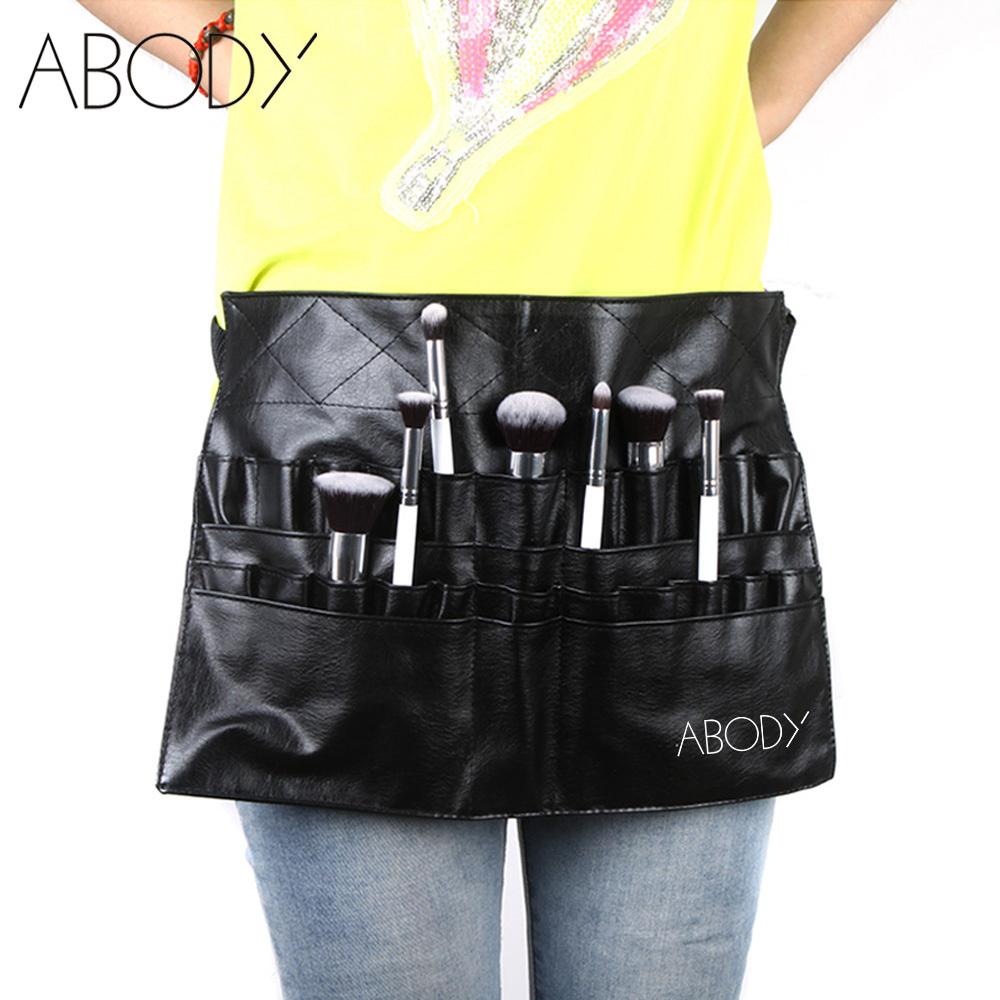 Black Two Arrays Makeup Brush Holder Professional Bag Artist Belt Strap Protable