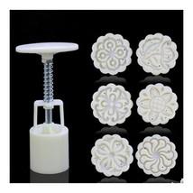 Round Shape Moon Cake Pastry Mold Hand Pressure 30g One Barrel 6 Flower ... - €9,51 EUR