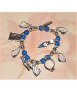 BLUE SHOPPING CHARM BRACELET LIPSTICK RING SHOE CREDIT CARD - $7.99