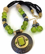 Green and Black Necklace and Earrings Set - $24.90 - $26.90