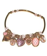 Gold Plated Euro French Boutique Charm Bracelet Hearts Love New - $24.99