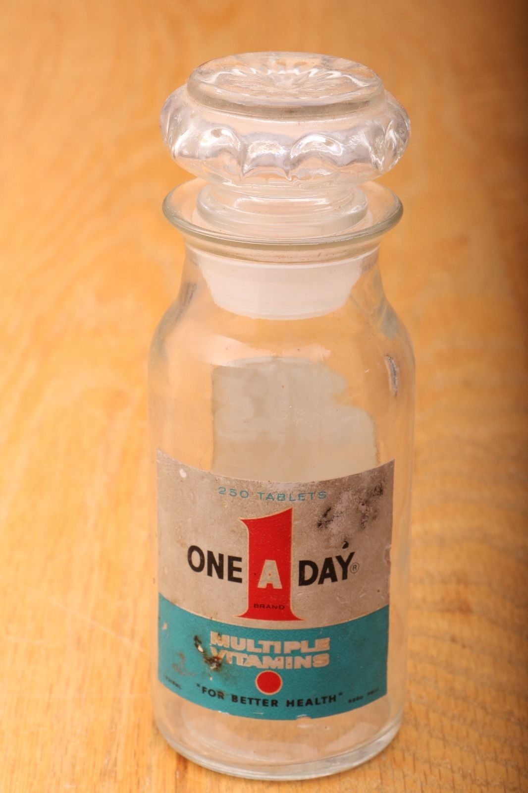 One A Day Multi Vitamin Vintage Glass Bottle 250 Tablets ...