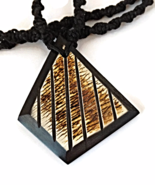 Black and Ivory Men's or Unisex Necklace with Wooden Pendant - $26.90