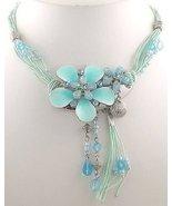 Aqua Green Strands & Crystals Floral Necklace & Earring Set - $24.99