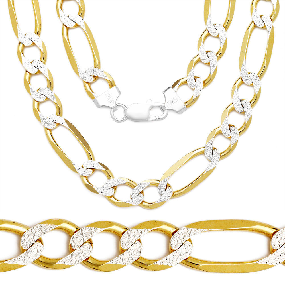 6.5mm Men/Women's Solid 14K YG 925 Silver Figaro Link Italian Chain Necklace