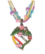 COLORFUL ENAMELED HEART PENDANT NECKLACE w/CRYSTALS - $24.99