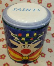 "Saints Reindeer Christmas Cookie Jar Ceramic Canister 6 1/2"" with lid - $39.60"