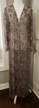 Vtg 90s Badgley Mischka Sheer Silk Velvet Leaves Duster Open Maxi Jacket... - $379.99