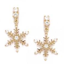 Women/Children's Unique 14K YG Snowflake Stud Earrings Screw Back ER-S314 9x17MM - $62.43