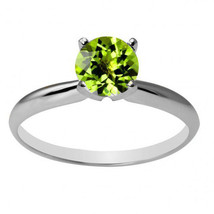 Women's Unique 14K WG 6mm Round Peridot Solitaire Ring All Sizes - £75.67 GBP+