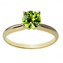 Womens Stylish 14K Solid Yellow Gold 6mm Round Peridot  Solitaire Ring A... - £75.67 GBP+