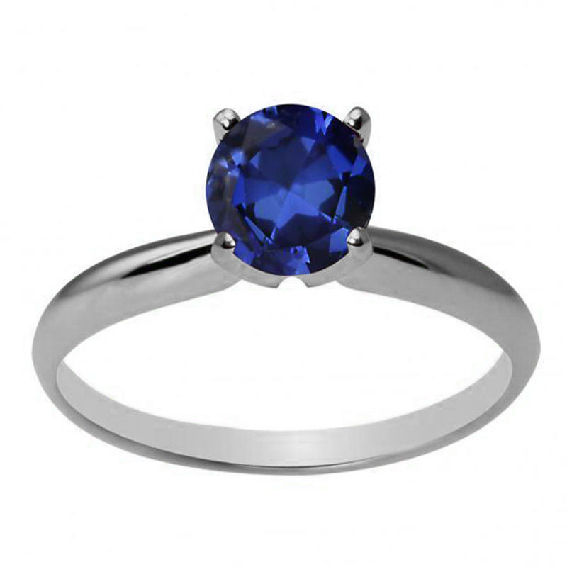 Women's Stylish 14K WG 6mm Round Created Blue Sapphire Solitaire Ring All Sizes