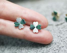 Four Leaf Clover Stud Earrings with Malachite Gemstone - $14.00