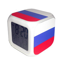 Led Alarm Clock Russia National Flag Creative Desk Digital Clock Kids To... - $19.99