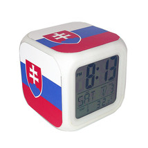 Led Alarm Clock Slovakia National Flag Creative Desk Digital Clock Kids ... - $19.99
