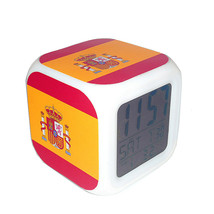 Led Alarm Clock Spain National Flag Creative Desk Digital Clock Kids Toy... - $19.99