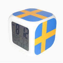 Led Alarm Clock Sweden National Flag Creative Desk Digital Clock Kids To... - $19.99