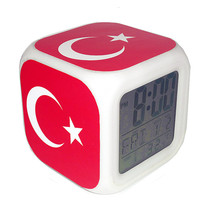 Led Alarm Clock Turkey National Flag Creative Desk Digital Clock Kids To... - $19.99