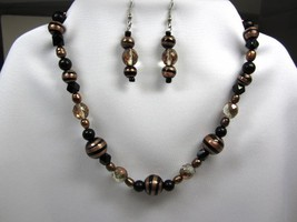 Black & Copper Necklace & Earring Set Handmade - $19.95