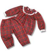Laura Dare Girls Red Plaid Pant Set with Eyelet Ruffle on Yoke - $25.00