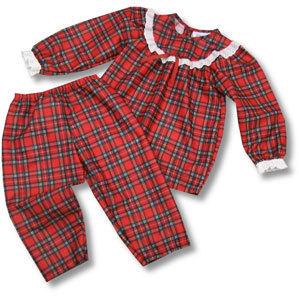 Laura Dare Girls Red Plaid Pant Set with Eyelet Ruffle on Yoke