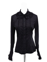 Black Lapel Ruffle Retro Victorian Gothic Cotton Lolita Shirt Blouse - $38.98