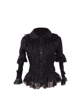 Black Ruffle Lace Bell Long Sleeve Retro Gothic Cotton Lolita Shirt Blouse - $38.98